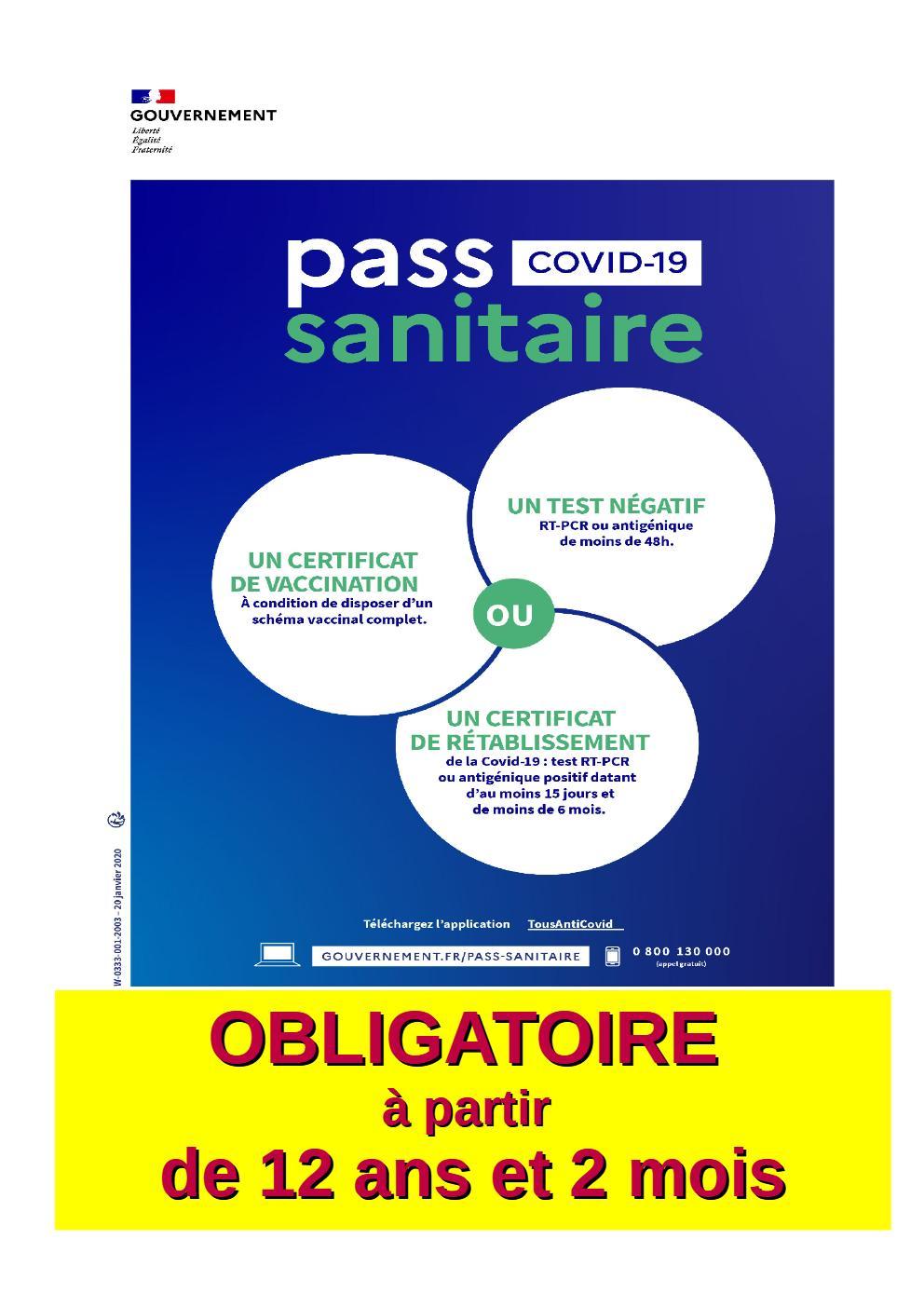 Pass sanitaire obligatoire |